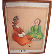 Wonderful primitive doll painting.