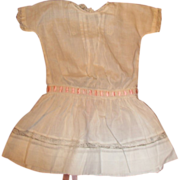 SOLD Beautiful old doll dress with inlaid lace and pintucking