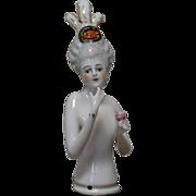 REDUCED German Porcelain Half-doll Elaborate Decoration