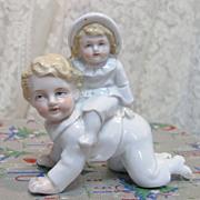REDUCED Antique German Porcelain Figurine Children