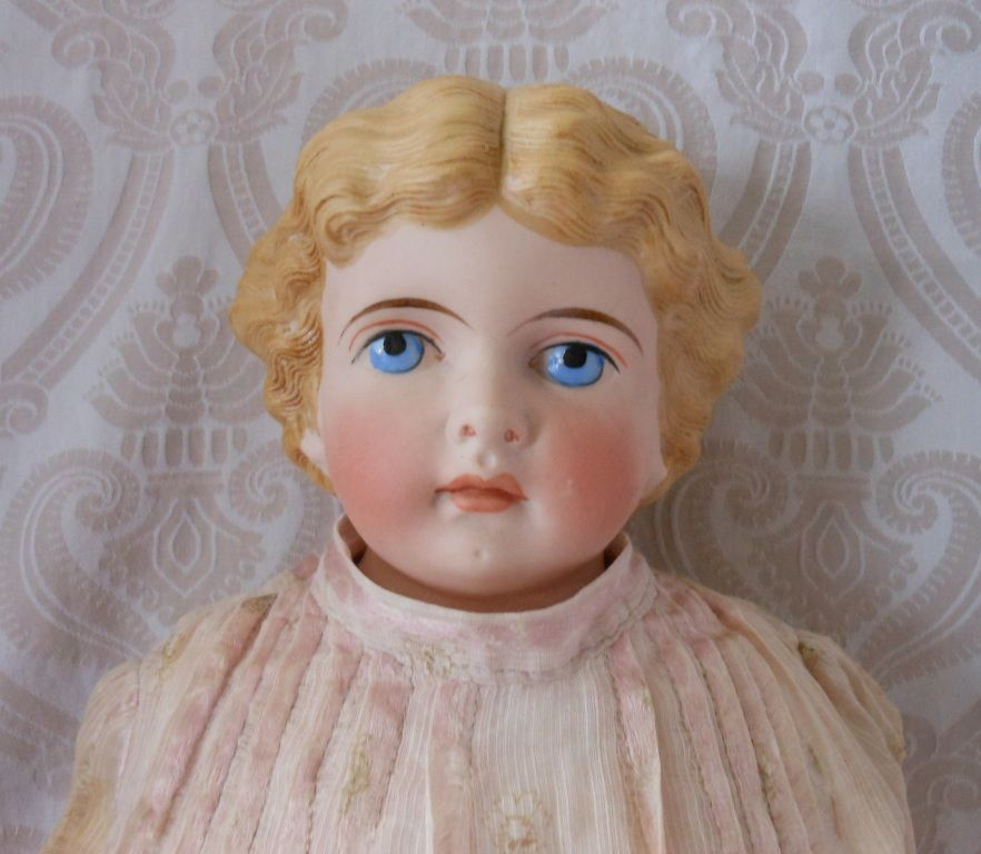 German Bisque Shoulder head Doll by Kling