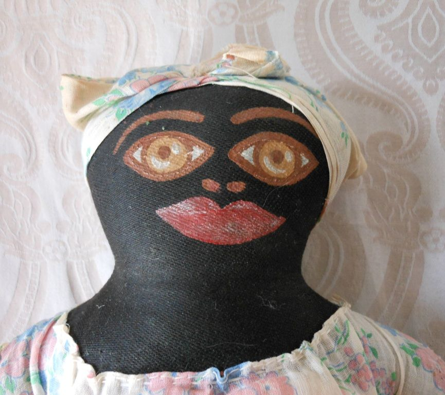 Black Cloth Doll with Painted Face