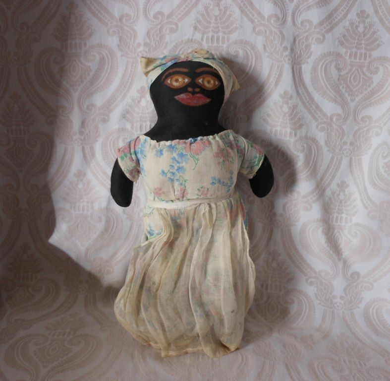 Black Cloth Doll With Painted Face From Joan