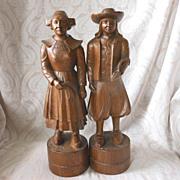 Black Forest Wooden Figurine Pair