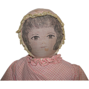 Early Moravian Cloth Doll with Hand Drawn Ink Face