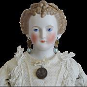 German Bisque Head Countess Dagmar Doll with Café Au Lait Decorated Hair