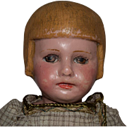 Large Martha Chase Cloth Doll with Bobbed Hair and Chunky Body