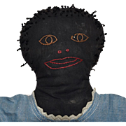 Antique Primitive Black Cloth Folk Art Doll