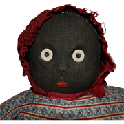 Vintage Black Cloth Doll with Round Eyes