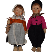 All Original German Cloth Bing Art Doll Pair