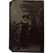 Victorian Tintype Photograph of Girl Holding a Doll
