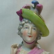 SALE Large German Glazed Porcelain (China) Arm Away Half Doll with Plumed Hat