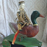 All Original Wonderful Early German Papier Mache Doll and Duck Pull Toy