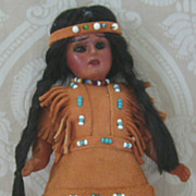 All Original Max Handwerck Native American Indian Painted Bisque Doll