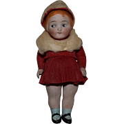 All Bisque Campbell Kid Type Doll in Original Crepe Paper Costume