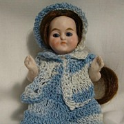 German All Bisque Doll with Glass Eyes and Wig