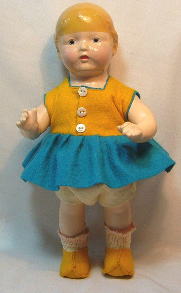 Unique Early Horsman Composition Dutch Girl Doll