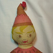 Early Printed Cloth Brownie Elf Rag Doll
