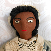 REDUCED Vintage Brown Cloth Doll in Maid Costume