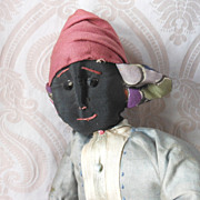 REDUCED Vintage All Original Black Cloth Doll