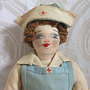 Vintage Artist Cloth Red Cross Nurse Doll