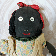 Black Stockinette Primitive Folk Art Cloth Doll