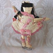 REDUCED Vintage Folk Art Hand Made Oil Cloth Skater Doll