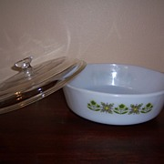 """Fire King """"Meadow Green"""" 1 1/2 Quart Casserole Dish with Lid"""