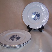 Set of Four (4) Royal Blue Enoch Wedgwood Bread & Butter Plates