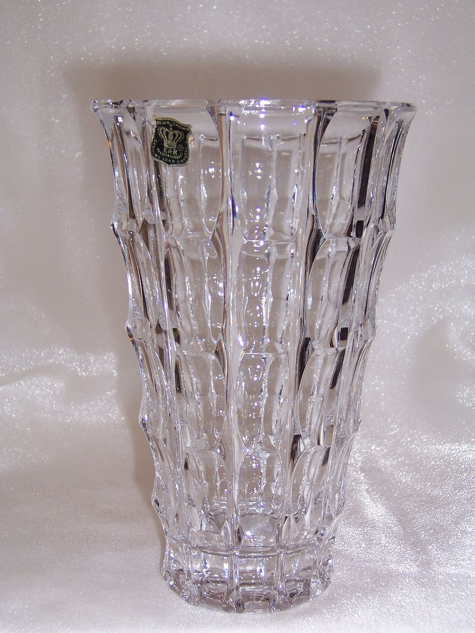E & R Golden Crown Genuine Lead Crystal Vase, Western Germany
