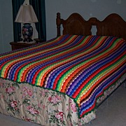 Multi-Colored Queen Size Handmade Crochet Afghan