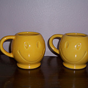 Vintage McCoy Cheery, Smiley Face Mugs