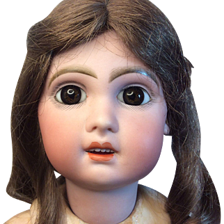 Antique French Bisque Jumeau Size 8 Original BJD Human Hair Wig Paperweight Eyes
