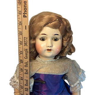 """Beautiful Antique Composition German Ball Joint Doll 24"""""""