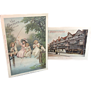 Pair of Antique Victorian Advertising Cards Van Houtin's Cocoa Great Condition  1851-1887