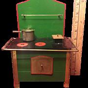 Wonderful Green Toy Vintage Sheet Metal Stove With Utensils & Original Box