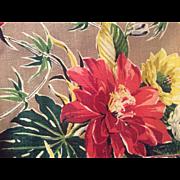 "Genuine 1940 Bark Cloth Fabric Mint Condition Tropical Print 48x 65 """