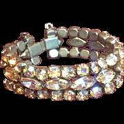 Antique/Vintage Marked Weiss Aurora Borealis 7 inch long Bracelet