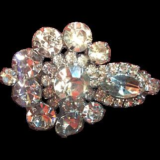 Vintage Rhinestone Hair Clip Crystal Clear Stones 2 Inch