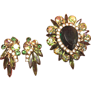 """Antique /Vintage. 2 1/4th"""" Long Brooch and Matching Clip Earrings"""