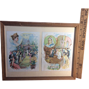 1893 Pair of McLaughlin's Coffee Cards Framed