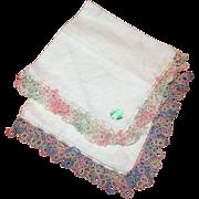 Pair Of Linen 12Inch Square Handkerchiefs Never Used Tatting Around Edges