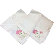 Pair of Vintage Unused Hand Embroidered Handkerchiefs Portugal