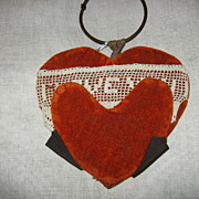 SALE Folk Art Handmade Valentine Antique Wall Pocket