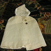 Wonderful Winter White Wool Doll Cloak or Cape with Hood