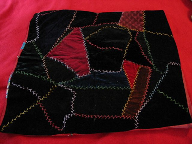 Velvet Crazy Quilt Pillow Cover or Pillowtop Early 1900s