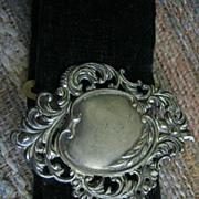 Lovely Art Nouvea Buckle on Edwardian Black Velvet Belt
