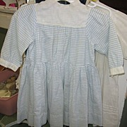 Antique Blue and White Striped Dress Antique Baby or Doll Dress