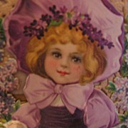 Large Die Cut Valentine Lovely Child in Lavender