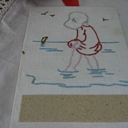 SALE Embroidered Girl at Beach Unusual Handmade Match Striker